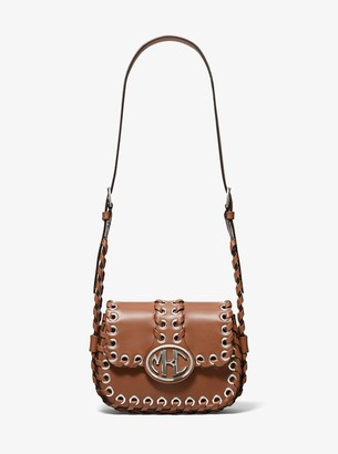 Michael Kors Collection Monogramme Whipstitch Leather Shoulder Bag