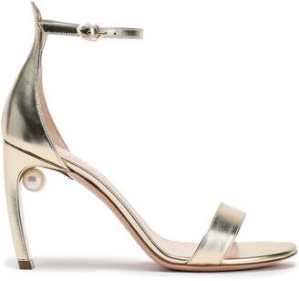 Nicholas Kirkwood Embellished Metallic Leather Sandals