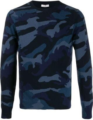 Valentino Camouflage Print Crew Neck Jumper