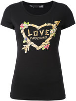 Love Moschino logo print T-shirt - women - Cotton/Spandex/Elastane - 38