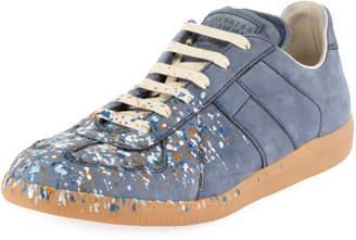 Maison Margiela Men's Replica Paint-Splatter Suede Low-Top Sneakers, Blue