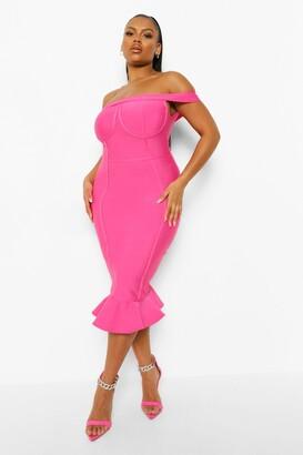 boohoo Plus Off Shoulder Bandage Sculpt Midi Dress