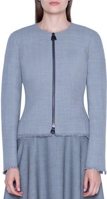 Akris Pointed Side Twill Short Jacket