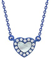 As 29 AS29 Women's 18ct Red Gold Round White Diamonds Mini Heart MOP Necklace of Length 38-40cm