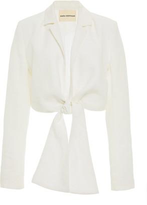 Mara Hoffman Catalina Tie-Front Hemp Blazer Top