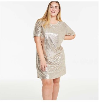 Joe Fresh Women's Sequin Tee Dress, Gold (Size 1X)