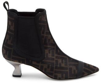 Fendi Logo Mesh Ankle Boots