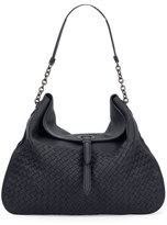 Bottega Veneta Intrecciato Cervo Flap-Top Hobo Bag, Denim Blue