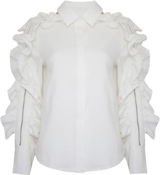 Jovonna London White Ruffle Zip Sleeve Jacket Top - UK8 - White