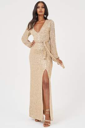 Club L Womens **Sequin Plunge Gathered Maxi Dress By Mink