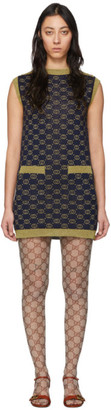 Gucci Navy and Gold Wool Interlocking G Dress