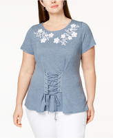 INC International Concepts I.n.c. Plus Size Corset T-Shirt, Created for Macy's