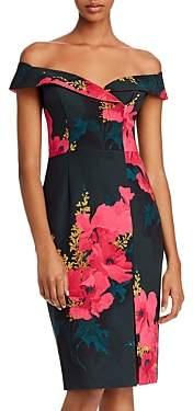 Black Halo Floral Off-the-Shoulder Dress