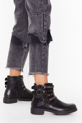 Nasty Gal Womens Like I Give a Buck-le Faux Leather Ankle Boots - Black