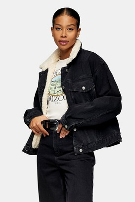 Topshop Womens Washed Black Denim Oversized Borg Jacket - Black
