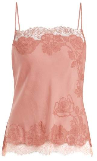 Carine Gilson Lace Trimmed Silk Satin Cami Top - Womens - Pink