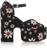 Miu Miu Floral-Print Gabardine Platform Sandals