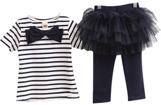 K Cliffs Baby Toddler Girl 2pc Outfit Stripe Short Sleeve Top with Tulle Tutu Legging, Navy Size 3Y