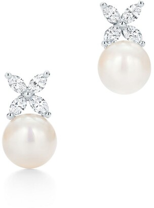 Tiffany & Co. Victoria earrings in platinum with freshwater pearls and diamonds