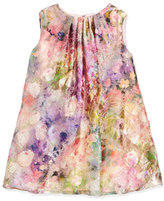 Helena Sleeveless Floral Watercolor Shift Dress, Pink, Size 7-14
