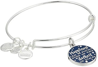 Alex and Ani Harry Potter Happiness Can Be Found Bangle (Shiny Silver) Bracelet