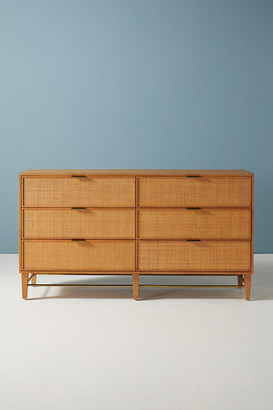 Anthropologie Wallace Cane and Oak Six-Drawer Dresser By in Beige