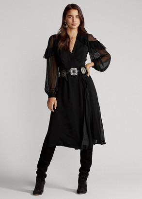 Ralph Lauren Ruffle-Trim Wrap Dress