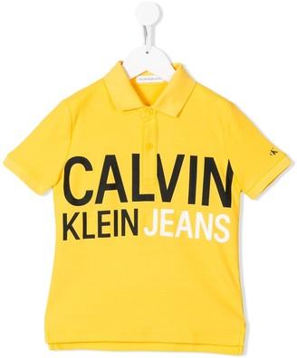 Calvin Klein Kids Logo Print Polo Shirt