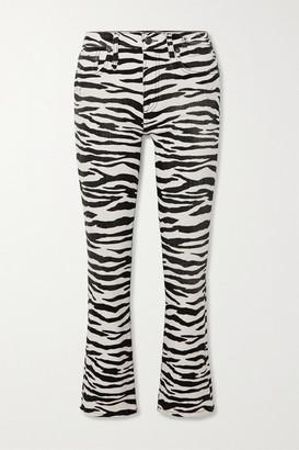 R 13 Kick Fit Cropped Zebra-print High-rise Flared Jeans - Zebra print