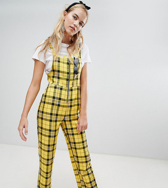 Reclaimed Vintage inspired zip through jumpsuit in yellow check
