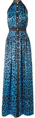 Balmain Leopard-print Silk-satin Halterneck Maxi Dress