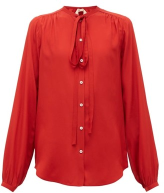 No.21 No. 21 - Neck-tie Crepe Blouse - Womens - Red