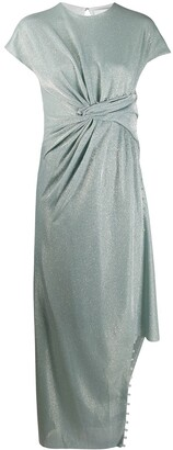 Lanvin Bead-Embellished Asymmetric Draped Dress
