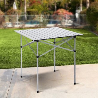 Roll up Portable Folding Camping Aluminum Picnic Table ANGELES HOME