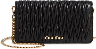 Miu Miu Matelasse Leather Wallet on a Chain