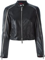 DSQUARED2 zip detail biker jacket - women - Cotton/Sheep Skin/Shearling/Polyester/Viscose - 44