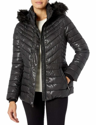 Kenneth Cole New York Women's Short Puffer with Faux Fur Trimmed Hood