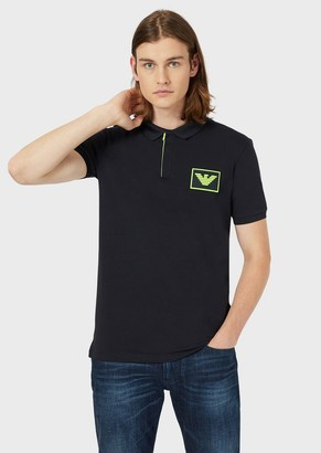 Emporio Armani Jersey Polo Shirt With Logo Patch And Velcro