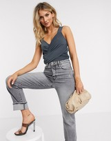 Vero Moda wrap crop top in grey