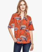 Ann Taylor Botanical Silk Ruffle Top