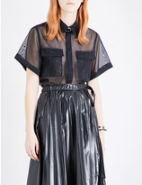 Toga Buckle tulle shirt