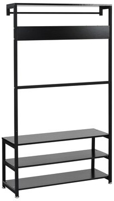 17 Stories Coat Rack, Shoe Bench, Hall Tree With Storage Shelf For Entryway, Industrial Accent Furniture With Steel Frame