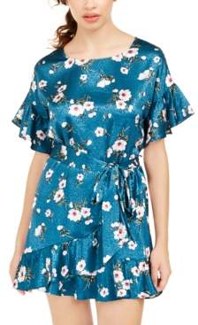 Speechless Juniors' Jacquard Floral-Print Shift Dress