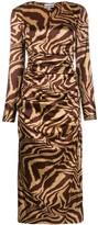 Ganni Tiger-Print Ruched Midi-Dress