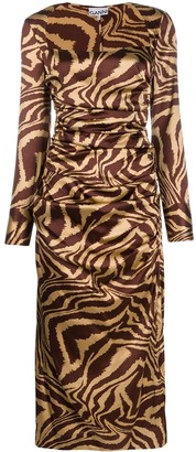 Ganni Tiger-Print Ruched Midi-Dress