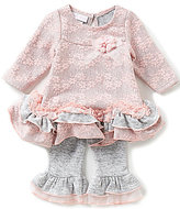 Bonnie Jean Bonnie Baby Baby Girls Newborn-24 Months Bonded-Lace Dress and Ruffle-Hem Leggings Set