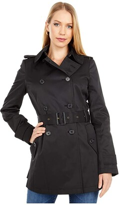 Lauren Ralph Lauren Double Breasted Trench (Black) Women's Coat