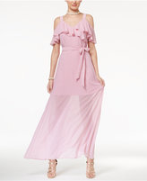 Disney Beauty and the Beast Juniors' Ruffled Cold-Shoulder Maxi Dress