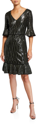 Shani V-Neck Sequin Dress with Flounce Hem