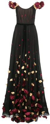 Marchesa off-shoulder floral embroidered dress